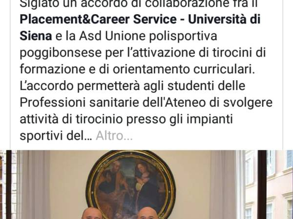Nasce l'accordo tra Asd Unione Polisportiva Poggibonsese e Universita' di Siena. Stage per gli studenti al 'Bernino'