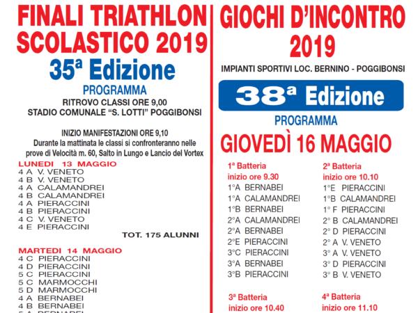 GIOCHI D'INCONTRO 2019 e FINALI di TRIATHLON SCOLASTICO 2019